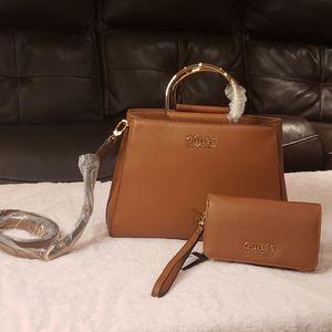 Guess Satchel Bag and Wristlet Set
